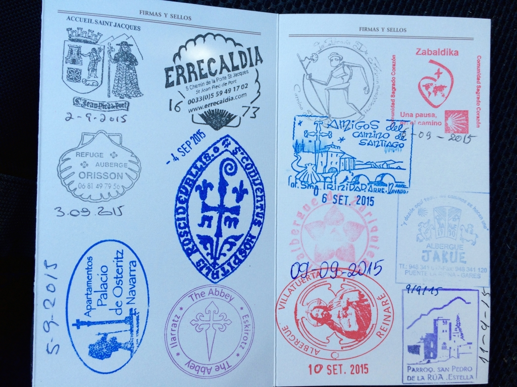 My Camino passport...  stamps of all the places I stayed along the Way. One day it will be filled to Santiago.